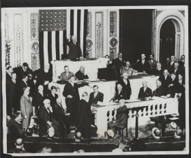 1931 photograph of John Nance Garner administering the oath of office on opening day