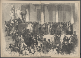 "The crowd at <a href=""/People/Detail/19692?ret=True"" title=""Franklin Pierce's"">Franklin Pierce's</a> 1853 inauguration on the Capitol's East Front appears in surging, baroque form in this print from <i>Frank Leslie's Illustrated News</i>."
