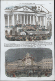 "The <i>Illustrated London News</i> reported on James Buchanan's 1857 inauguration, speculating that ""Washington was probably never before visited by so large a number of persons,"" and that the ""streets and avenues began to fill with a busy crowd of citizens as well as thousands . . . who for the previous days had poured towards the national metropolis in an uninterrupted stream."""