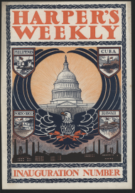 "<i>Harper's Weekly</i> maintained an interest in inaugurations, marking President <a href=""/People/Detail/17980?ret=True"" title=""William McKinley's"">William McKinley's</a> 1901 inauguration with a commemorative issue describing all the speeches and balls in detail."