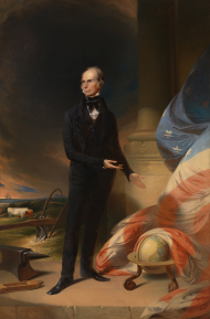 "Henry Clay became famous for his ""American System,"" a program of economic development and transportation that was a centerpiece of his political platform. The ship, anvil, and globe allude to aspects of the ""American System"" in the painting above."