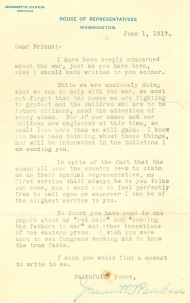 Jeannette Rankin, Letter to Constituents, June 1, 1917