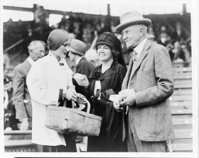 Margaret Speaks, Edith Nourse Rogers and Frederick H. Gillett at a Baseball Game