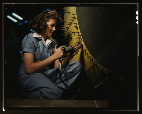 Woman Working as a Riveter During World War II