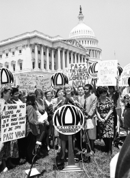 Pat Schroeder Speaking at a Demonstration for the Violence Against Women Act