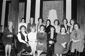 Congresswomen of both parties meet and pose for a picture in 1979.