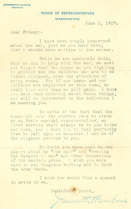 Rankin sent this letter to constituents referencing the war and asserting her commitment to issues at home.