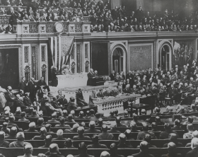 President Woodrow Wilson addressed a Joint Session of Congress on April 2, 1917, to ask for a declaration of war against Germany. Debate followed, and the House voted 373-50 on April 6 to enter the war.