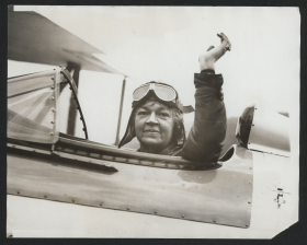 1929 Photograph of Edith Nourse Rogers in an airplane.