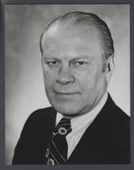 Black and white headshot of President Gerald Ford
