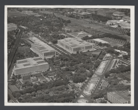 Black and white aerial view of Ford and other new buildings in Southwest D.C. from 1941