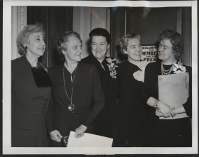 """When Jeannette Rankin (far left) returned to Congress for a single term in 1941, she was no longer the only woman in the House. Joining her in this photo are <a href=""""/People/Detail/9566"""" title=""""Frances Bolton"""">Frances Bolton</a> of Ohio, <a href=""""/People/Detail/19024"""" title=""""Mary Norton"""">Mary Norton</a> of New Jersey, <a href=""""/People/Detail/21866"""" title=""""Margaret Chase Smith"""">Margaret Chase Smith</a> of Maine, and <a href=""""/People/Detail/20569"""" title=""""Edith Nourse Rogers"""">Edith Nourse Rogers</a> of Massachusetts."""