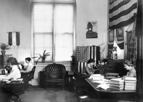 Rankin's staff included several women, pictured here in her congressional office.