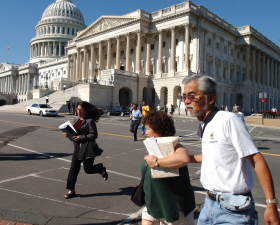 In the wake of the attacks in New York and at the Pentagon, tourists and congressional staff evacuated the U.S. Capitol.