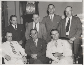 "Staff in the House Parliamentarian's Office pose for a photograph during the <a href=""/Congressional-Overview/Profiles/74th/"" title=""74th Congress"">74th Congress</a> (1935–1937)."