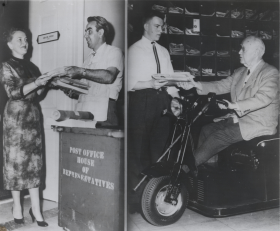 "Despite the U.S. Postal Service's cancellation of Saturday mail in 1957, Congress still got its letters. Postal clerk Gene Renzacci delivered mail to Representative <a href=""/People/Detail/19633"" title=""Gracie Pfost"">Gracie Pfost</a> at her office door while Congressman <a href=""/People/Detail/8581"" title=""James C. Auchincloss"">James C. <span>Auchincloss</span></a> picked up his letters from clerk William Mitchell."
