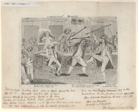 Matthew Lyon was known as a firebrand, a reputation built by images like this etching of his infamous fight with Roger Griswold after the House failed to expel Lyon for spitting tobacco in the Connecticut Member's face.