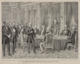 Signing of the Treaty of Paris Lithograph