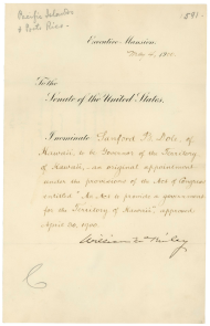 Nomination of Sanford B. Dole as Territorial Governor of Hawaii