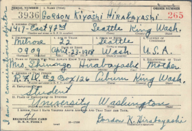 Gordon Hirabayashi's Draft Card