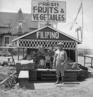 "A Grocer with a ""Filipino"" Sign"