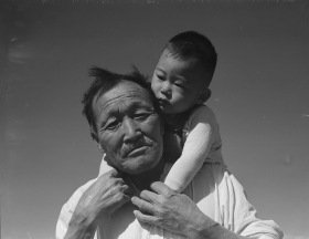 Grandfather and Grandson in Manzanar War Relocation Center