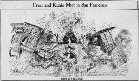 Jonah Kuhio Kalanianaole and Walter Francis Frear Political Cartoon