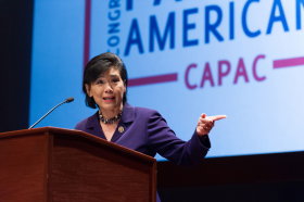 Judy Chu at a Meeting of the Congressional Asian Pacific American Caucus