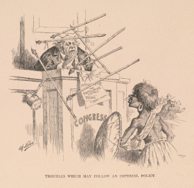 """""""Troubles Which May Follow an Imperial Policy"""" Cartoon"""