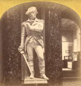 Stereoview of Ethan Allen Statue, Showing Newspaper and Telegraph Stand