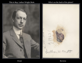 Luther Wright Mott Photo, Front and Reverse