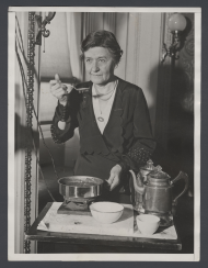 Ettie Garner with a Camp Stove in Room H-128 of the Capitol