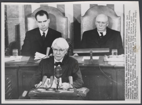 Poet Laureate Carl Sandburg on the Rostrum