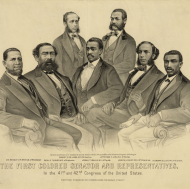 This 1872 Currier & Ives lithograph shows the first African–American Members of the House and Senate.