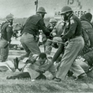 Baton-wielding Alabama state troopers waded into a crowd of peaceful civil rights demonstrators March 7, 1965, in Selma, Alabama.
