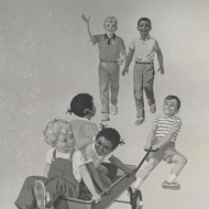 Illustration of Children Playing from the Cover of Fun with Dick and Jane