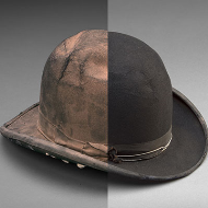 Bowler Hat before and after Conservation Composite Image