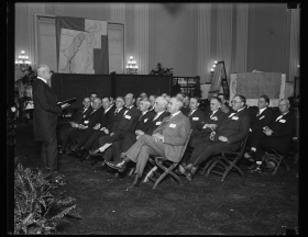 Clerk William Tyler Page speaking to Members Elect in 1927