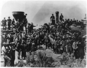 """East and West Shaking Hands at the Laying of the Last Rail"" Photograph"