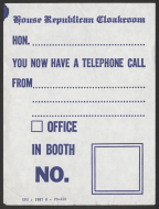 Republican Cloakroom Telephone Message Note