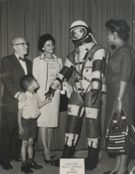 Rep. Gus Hawkins and a Spacesuit