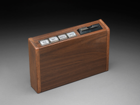 Electronic Voting box with white buttons for yea, nay, present, and open