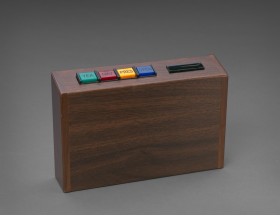 Electronic Voting box with colored buttons for yea, nay, present, and open