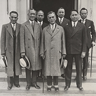 In 1933, a delegation from the Philippines posed outside the White House after meeting with President Roosevelt.