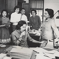 Representative Patsy Mink of Hawaii and her staff met in their Longworth Building office.