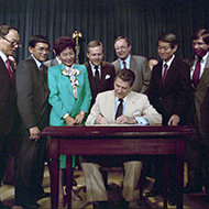President Ronald Reagan signed the Civil Liberties Act in 1988.