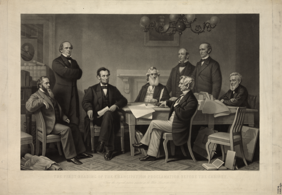 An Artist's Rendition of the signing of the Emancipation Proclamation in 1862