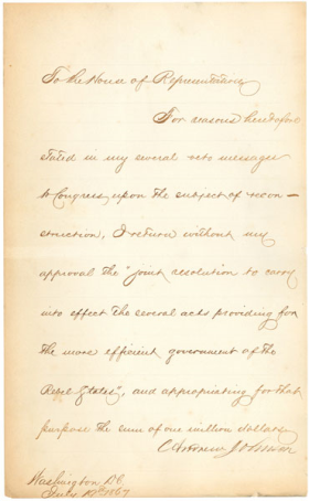 Johnson's Veto Message for the Third Reconstruction Act
