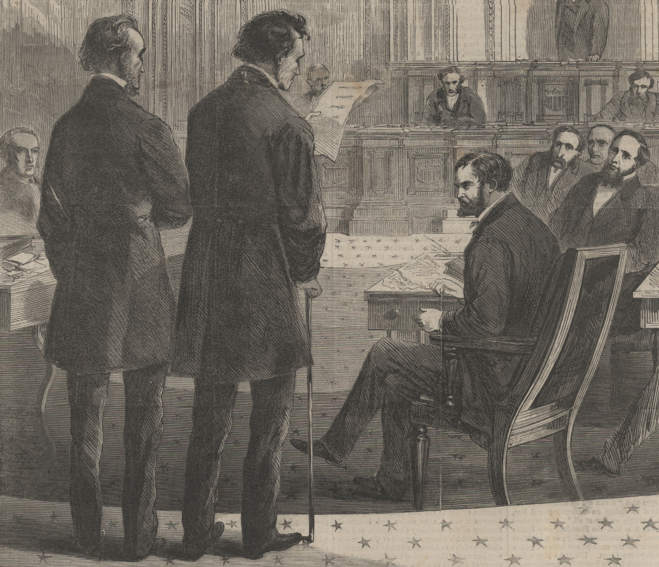 Representatives John Bingham and Thaddeus Stevens Announce that the House Impeached President Andrew Johnson