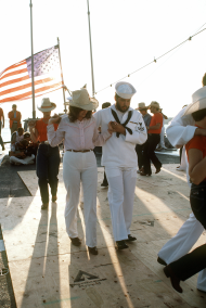Crewmen and Guests Square Dance Aboard the USS Leahy